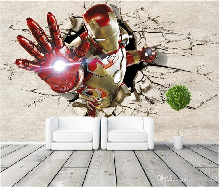 3D View Iron Man Wallpaper Giant Wall Murals Cool Photo Wallpaper With Iron Man 3D Wall Art (Image 7 of 20)