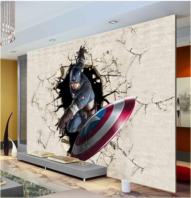 3D View Wallpaper Captain America Photo Wallpaper Silk Mural Large Regarding Captain America 3D Wall Art (Image 4 of 20)