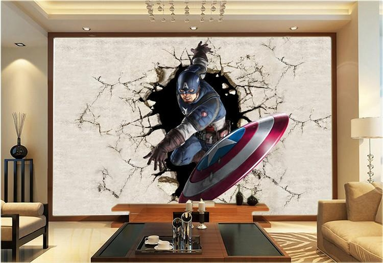 3D View Wallpaper Captain America Photo Wallpaper Silk Mural Large With Regard To Captain America 3D Wall Art (Image 5 of 20)