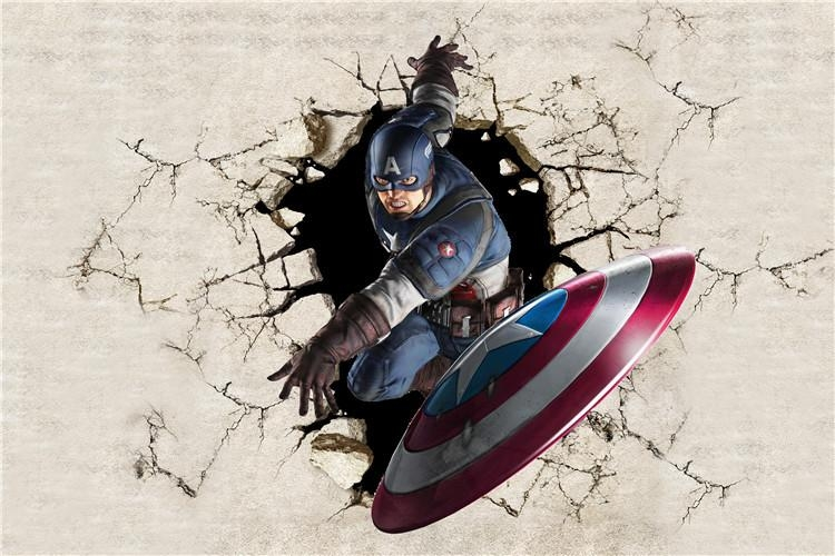 3D View Wallpaper Captain America Photo Wallpaper Silk Mural Large With Regard To Captain America 3D Wall Art (Image 6 of 20)
