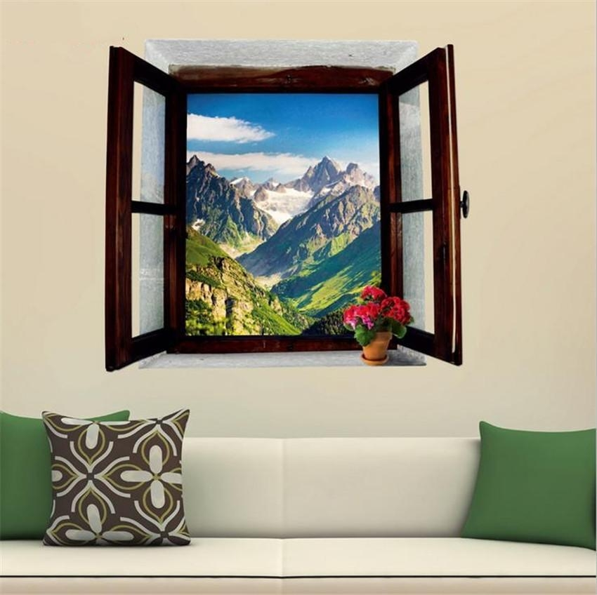 3D View Window Landscape Painting Snowy Mountains Home Décor Pvc Intended For 3D Wall Art Window (View 7 of 20)