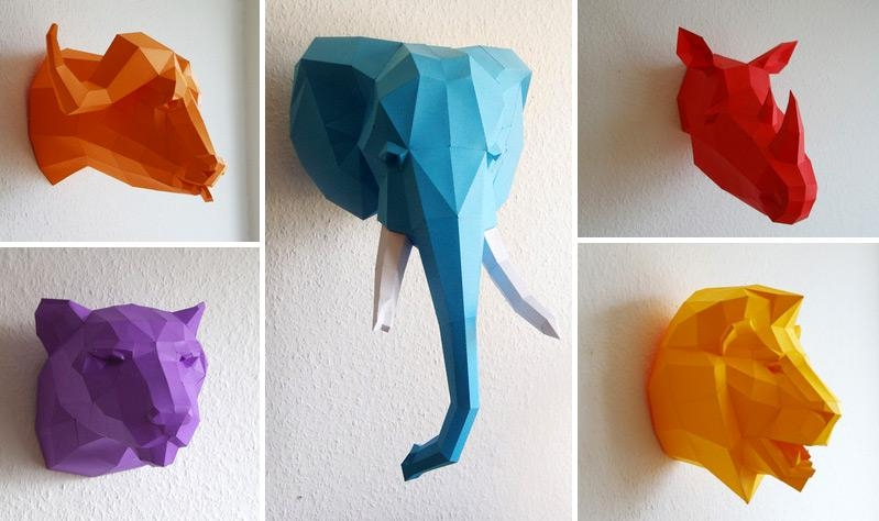 3D Wall Art Animals | Wallartideas With Regard To 3D Wall Art With Paper (Image 12 of 20)