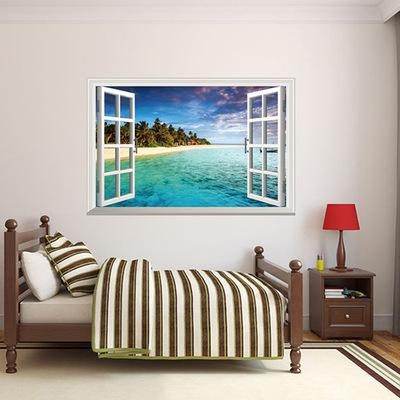 3D Wall Art Beach Scene Modern Home Decal Wall Sticker Ocean Intended For Beach 3D Wall Art (Image 3 of 20)