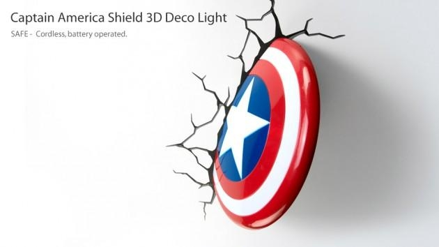 3D Wall Art Captain America Night Light | Wallartideas With Regard To Captain America 3D Wall Art (View 8 of 20)