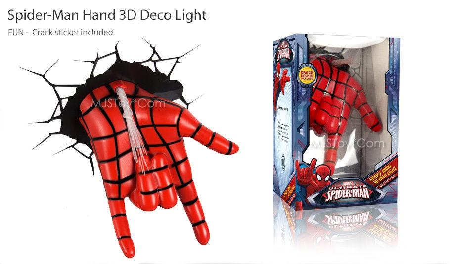 3D Wall Art Nightlight Spiderman Hand | Wallartideas Inside 3D Wall Art Night Light Spiderman Hand (Image 1 of 20)