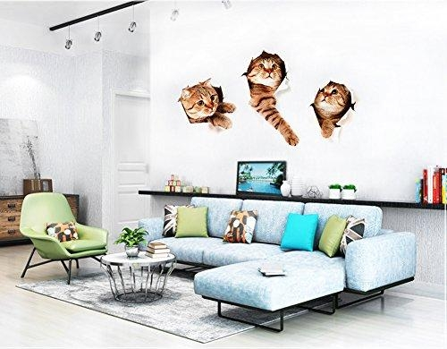 3D Wall Decals Stickers Vivid Decors Murals (Cat) For Room Home Pertaining To 3D Wall Art For Living Room (Image 8 of 20)
