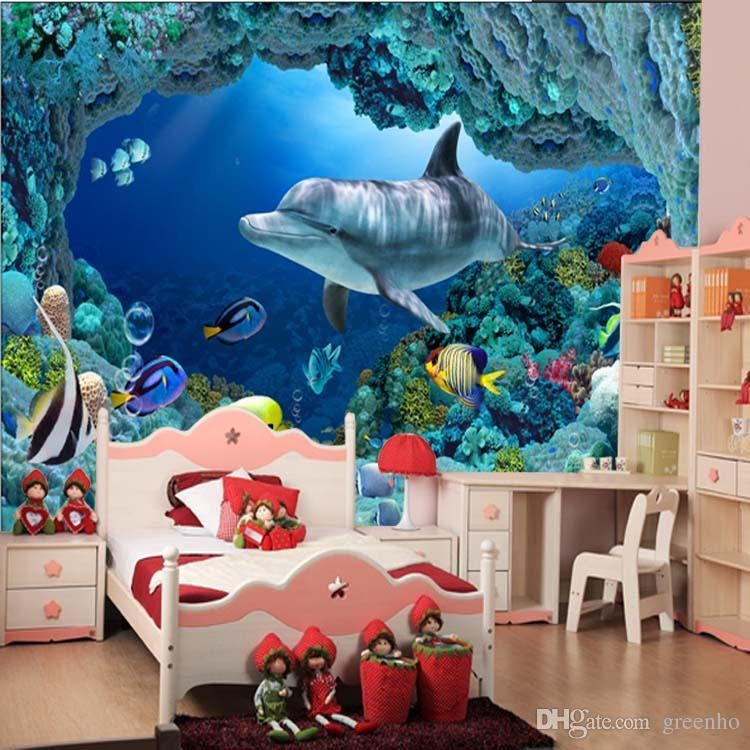 3D Wall Mural Underwater World Cute Fish Dolphin Large Wallpaper Within Fish 3D Wall Art (View 8 of 20)