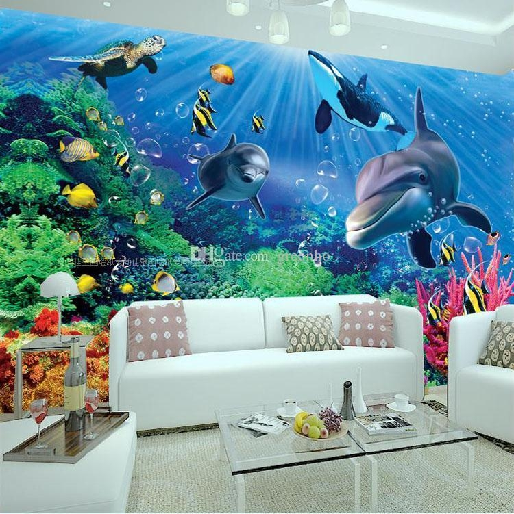 3D Wall Mural Underwater World Photo Wallpaper Interior Art Within 3D Wall Art Wallpaper (Image 3 of 20)