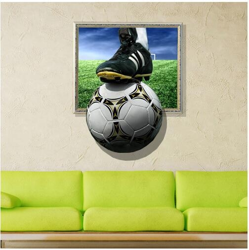 3D Wall Stickers Football Painting Kid's Room Ceiling Paintings For Football 3D Wall Art (Image 3 of 20)