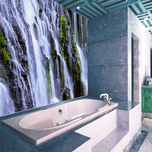3D Wallpaper Home Decor Photo Background Waterfall Landscape For 3D Wall Art For Bathroom (Image 12 of 20)