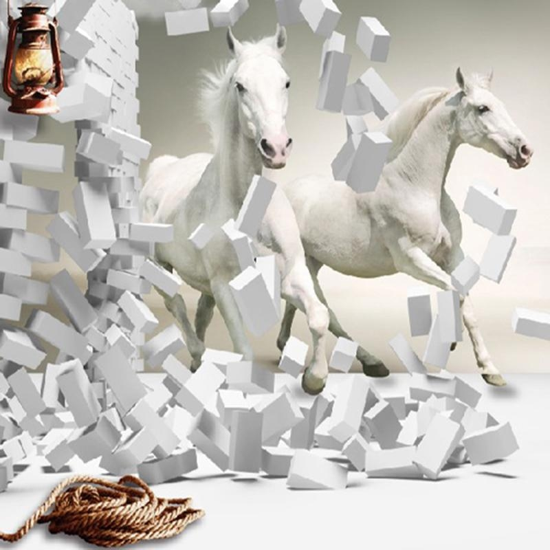 3D White Horse Wall Murals Wallpaper,canvas 3D Horse Custom Wall In 3D Horse Wall Art (Image 7 of 20)