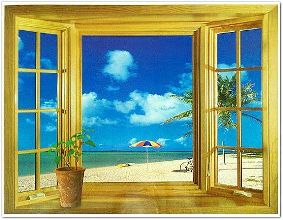 3D Window Beach Scene Flowers Tree Sea Wall Stickers Artwallor Pertaining To 3D Wall Art Window (View 18 of 20)