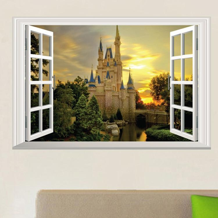3D Window View Wall Art Mural Decor Castle Orchard Of Harvest Lane Pertaining To 3D Wall Art Window (Image 6 of 20)