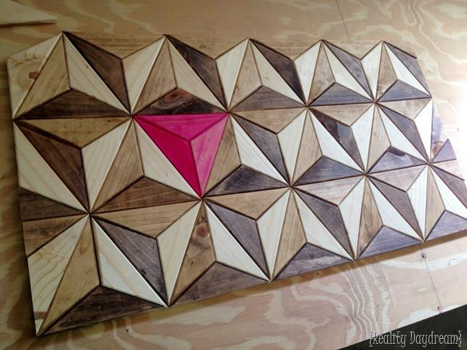 3D Wooden Geometric Art With Regard To 3D Triangle Wall Art (Image 8 of 20)