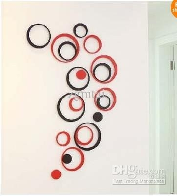 5 Circles Ring Creative Stereo Wall Stickers Mural Indoor 3D Wall Regarding Circles 3D Wall Art (Image 8 of 20)