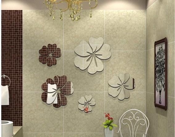 5 Piece Removable 3D Beautiful Flowers Mirror Wall Stickers Intended For 3D Wall Art For Bathroom (Image 13 of 20)