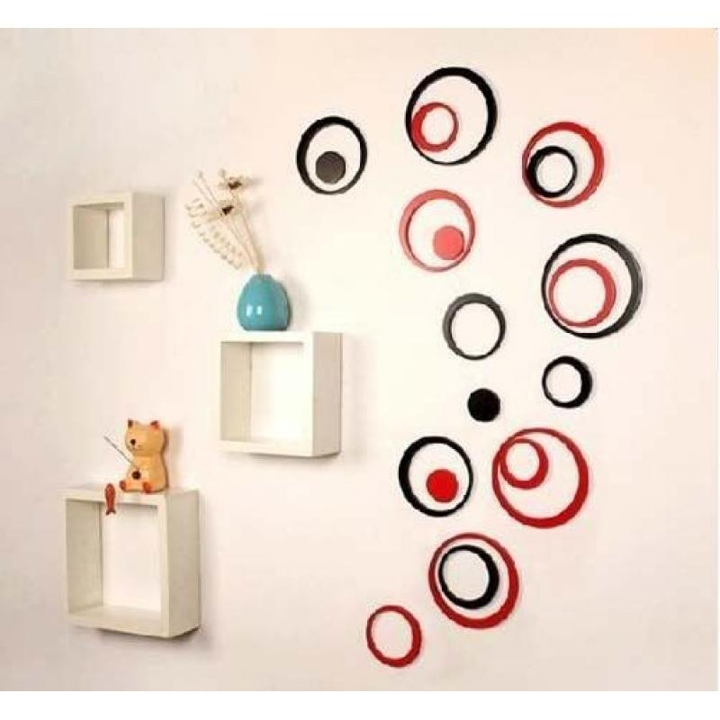 5 Sets Diy Circles Ring Stereo Wall Stickers Mural Indoor 3D Wall With Regard To Circles 3D Wall Art (Image 9 of 20)