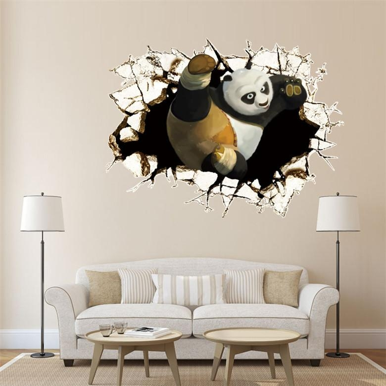 50 X70 Cm Kongfu Panda 3D Through Wall Stickers Decals Art For Inside Baby Nursery 3D Wall Art (Photo 15 of 20)