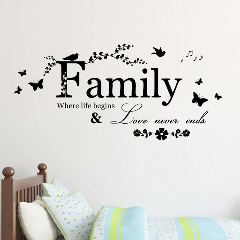 5Pcs Family Love Never Ends Quote Vinyl Wall Decal Wall Lettering Intended For 3D Wall Art Words (Image 9 of 20)