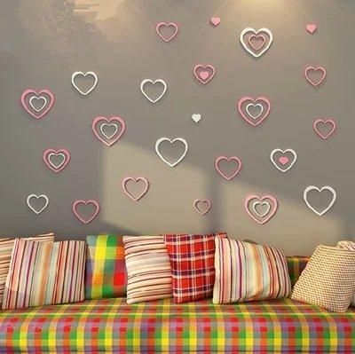 5Pcs Woody Love Heart 3D Wall Stickers Diy Modern Wall Art With Regard To Heart 3D Wall Art (Image 6 of 20)