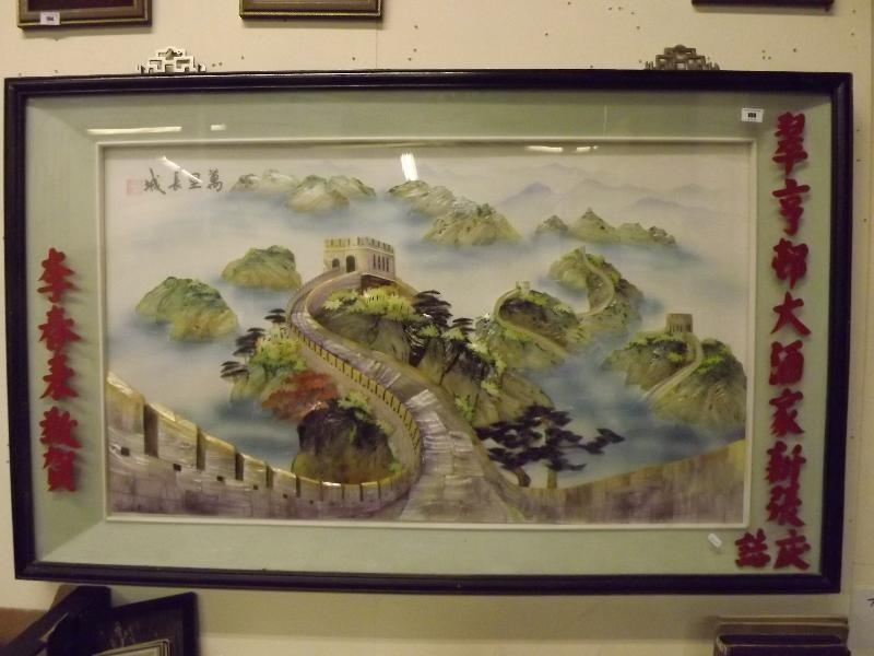 A 3D Chinese Art Shadow Box Made With Mother Of Pearl And Shells With Great Wall Of China 3D Wall Art (View 6 of 20)