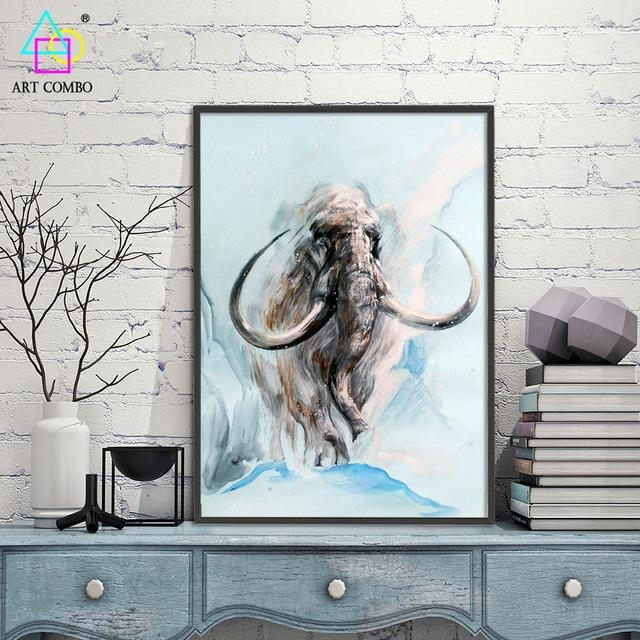 Abstract 3D Artwork Fabric Painting Animals Mammoth Drawing Home Within 3D Artwork On Wall (Image 14 of 20)