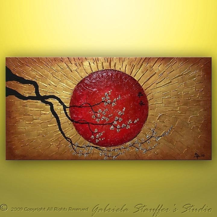 Abstract Painting Asian Painting Wall Art Wall Decor Large Pertaining To Abstract Wall Art 3D (View 13 of 20)