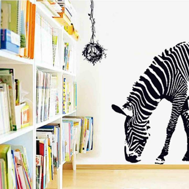 Aliexpress : Buy 100*95Cm Large Pvc Wall Decals Black Zebra 3D Within Zebra 3D Wall Art (Image 5 of 20)