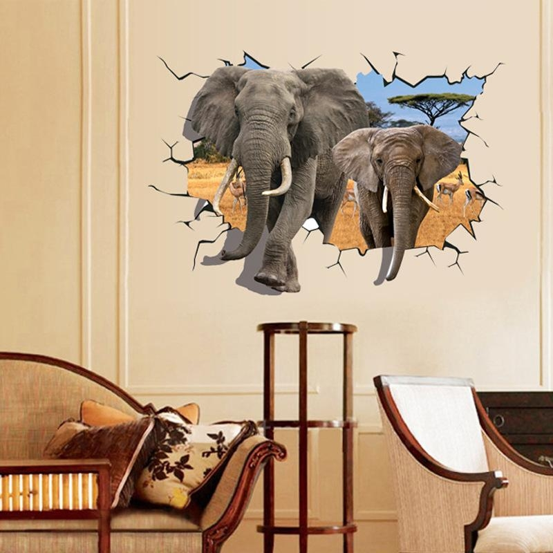 Aliexpress : Buy 2017 3D Elephant Wall Stickers Jurassic Park Throughout Animals 3D Wall Art (Image 6 of 20)