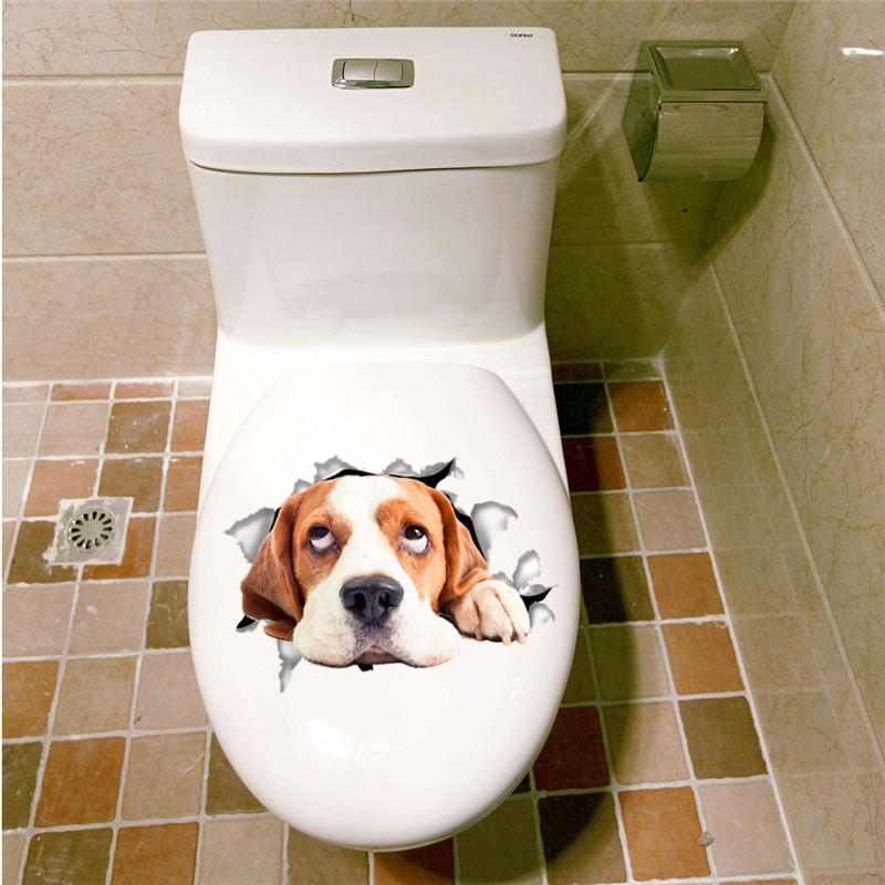 Aliexpress : Buy 3D Effect Cats Dogs Wall Sticker Toilet Door Throughout Dogs 3D Wall Art (Image 6 of 20)