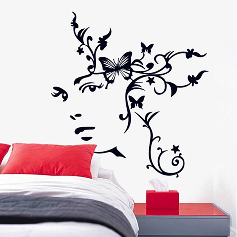 Aliexpress : Buy 3D Floral Butterfly Vine Girl Removable Vinyl Within 3D Removable Butterfly Wall Art Stickers (View 9 of 20)
