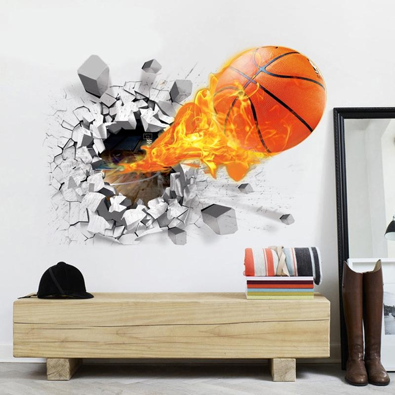 Aliexpress : Buy 3D Pvc Basketball Soccer Wall Stickers Intended For 3D Wall Art Wholesale (Image 7 of 20)