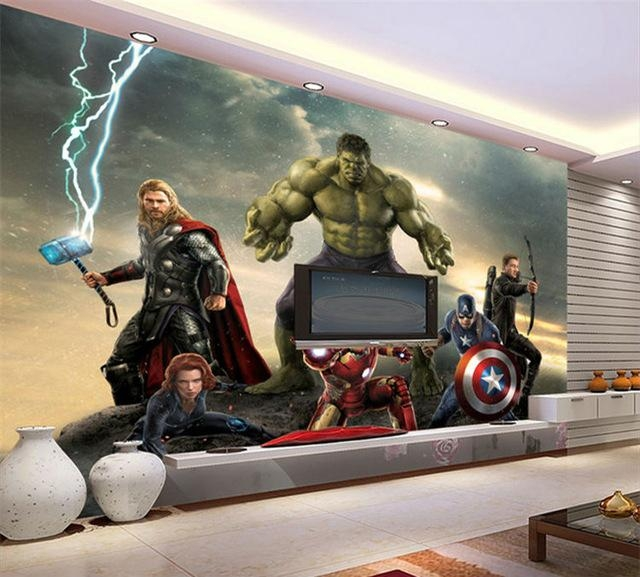 Aliexpress : Buy 3D Wallpaper The Avengers Photo Wallpaper Throughout Marvel 3D Wall Art (Image 6 of 20)