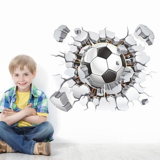 Aliexpress : Buy 40*50Cmvinilos Football 3D Wall Stickers For With Football 3D Wall Art (Image 4 of 20)