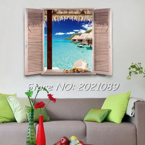 Aliexpress : Buy Beauty Ocean Landscape 3D Wall Stickers Beach With Beach 3D Wall Art (Image 4 of 20)