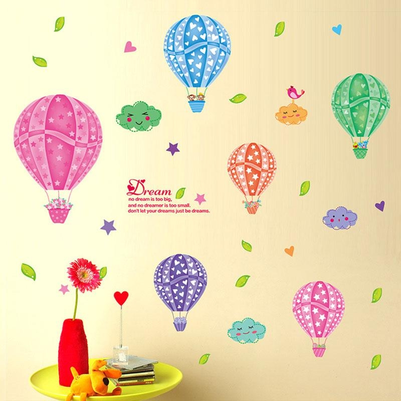 Aliexpress : Buy Cartoon 3D Diy Colorful Hot Air Balloons Wall Regarding Air Balloon 3D Wall Art (View 10 of 20)