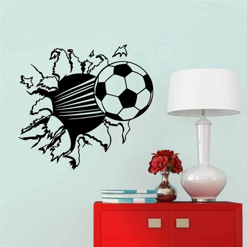 Aliexpress : Buy Creative Home Decor 3D Wall Stickers Football With Football 3D Wall Art (Image 5 of 20)
