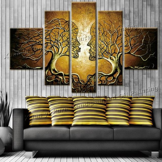Aliexpress : Buy Handpainted Wall Art Home Decoration Tree Of Within 3D Wall Art Canvas (Image 7 of 20)