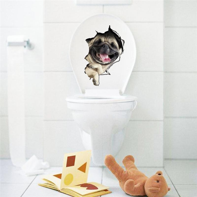 Aliexpress : Buy Hole View Vivid Dogs 3D Wall Sticker Bathroom With Dogs 3D Wall Art (Image 8 of 20)