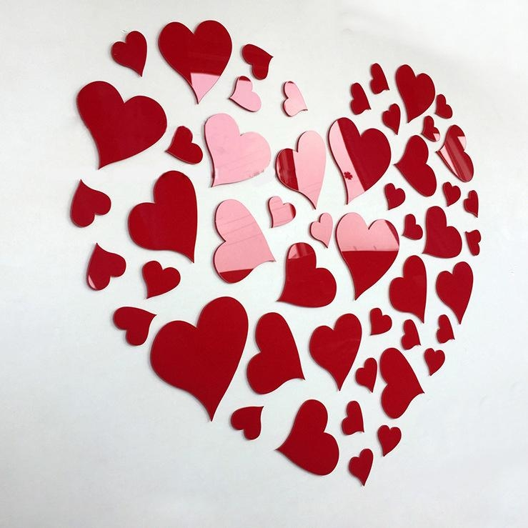 Aliexpress : Buy Romantic Diy Art 3D Acrylic Love Heart Wall Inside Heart 3D Wall Art (Image 7 of 20)