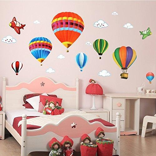 Amaonm Removable Creative 3D Hot Air Balloon Aircraft And Smile Regarding Air Balloon 3D Wall Art (View 8 of 20)