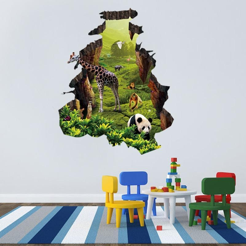 Animals 3D Wall Stickers Kids Rooms Panda Monkey Giraffe Elephant With Animals 3D Wall Art (Image 8 of 20)