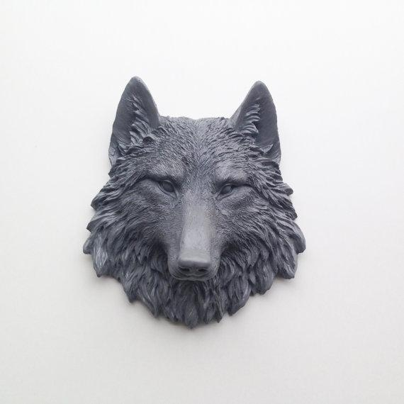 Any Color Or Grey Wolf Head Wall Mount // Resin Faux Taxidermy Within Wolf 3D Wall Art (View 13 of 20)