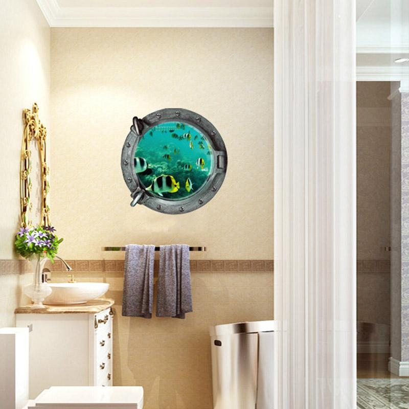 Aquarium 3D Underwater Sea World Fish Wall Sticker Bathroom Decals Regarding Fish 3D Wall Art (Image 7 of 20)