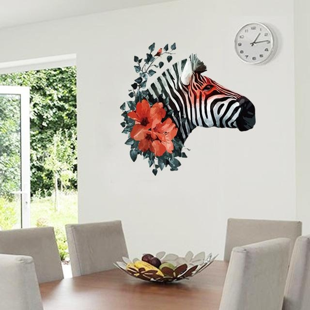 Art Black Zebra Red Flower 3D Wall Decals For Bedroom Living Room Inside Zebra 3D Wall Art (Photo 20 of 20)