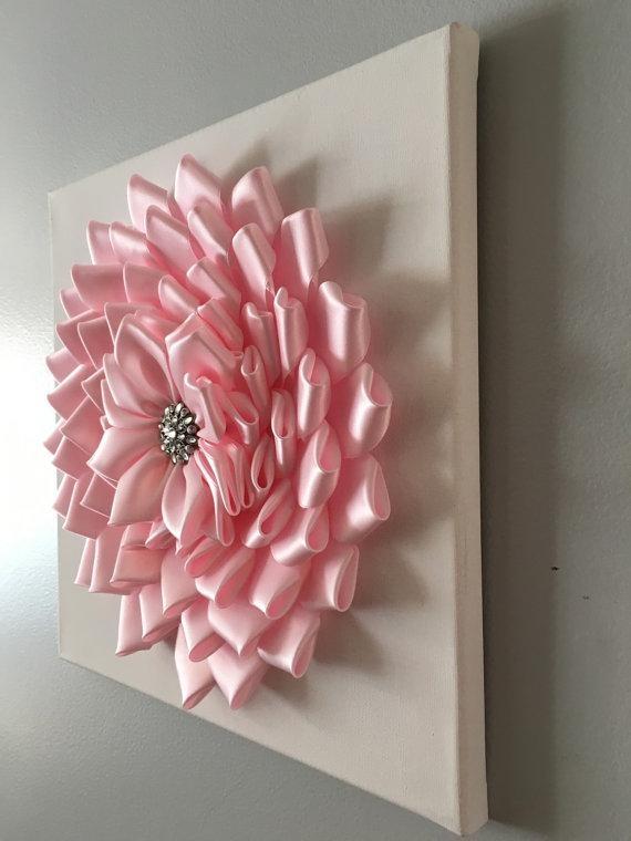 Baby Pink Kanzashi Flower Wall Art 12X12 Inside 3D Flower Wall Art (Image 6 of 20)