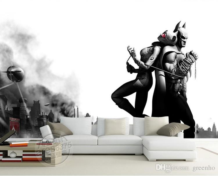 Batman & Catwoman Wall Mural Black & White Photo Wallpaper Vintage Intended For Batman 3D Wall Art (View 8 of 20)