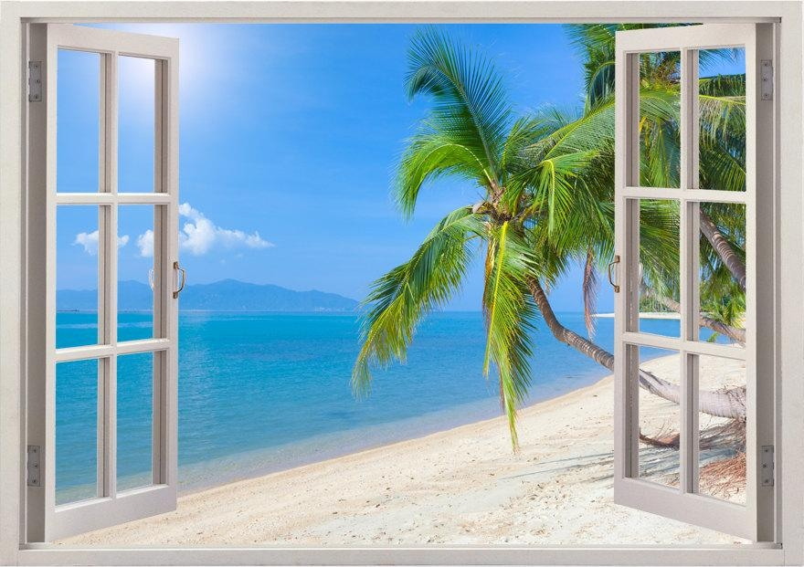 Beach Wall Decal 3D Window Tropical Beach Coconut Palm Tree Pertaining To Beach 3D Wall Art (Image 5 of 20)