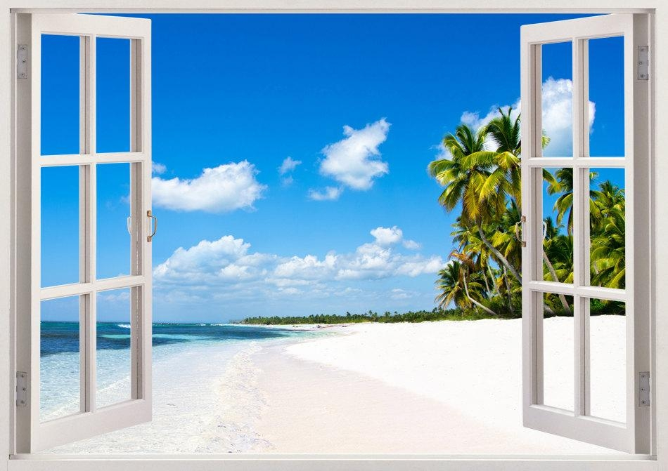 Beautiful Beach Mural And Tropical Sea Wall Sticker 3D Window In Beach 3D Wall Art (Image 6 of 20)