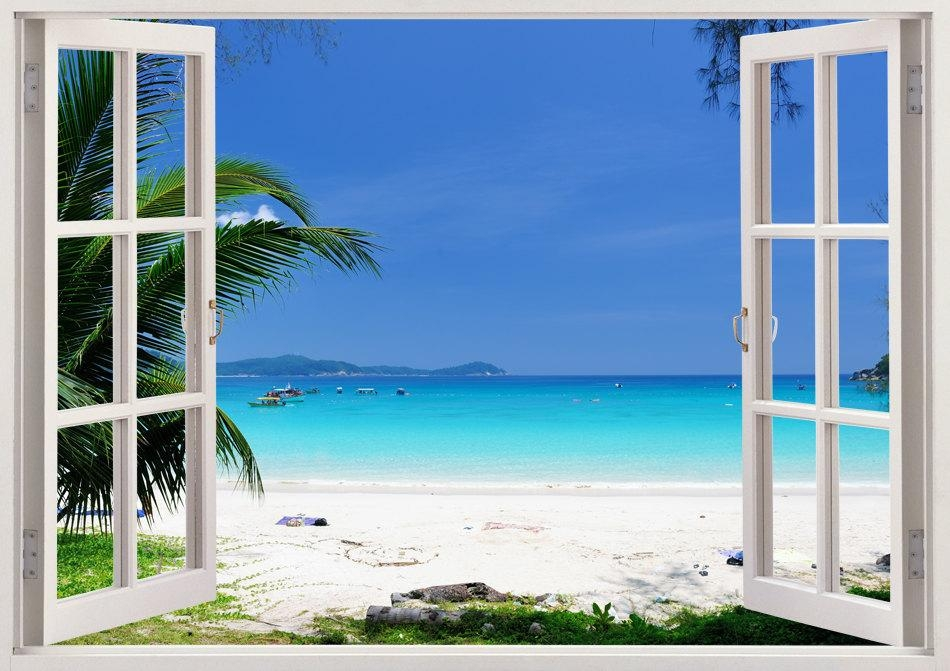 Beautiful Beach Wall Art 3D Window Beach Wall Decal With With Regard To Beach 3D Wall Art (Image 7 of 20)